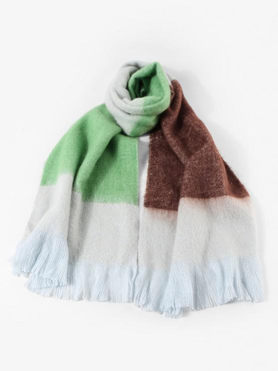 outfit Winter Faux Cashmere Colorblock Fringe Scarf - YELLOW GREEN