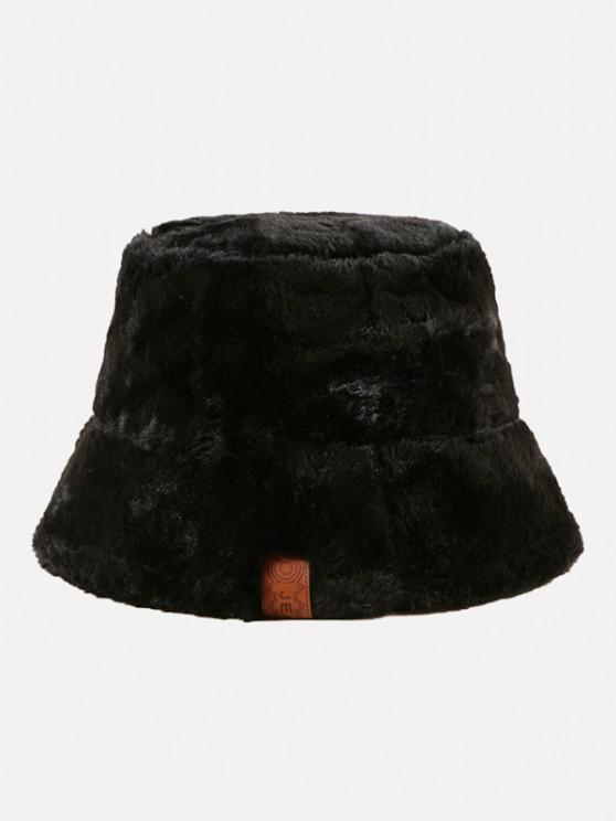 outfits Faux Fur Leather Label Bucket Hat - BLACK