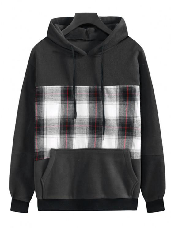 Plaid Patchwork Front Pocket Fleece Hoodie - Dark Slate Grey M