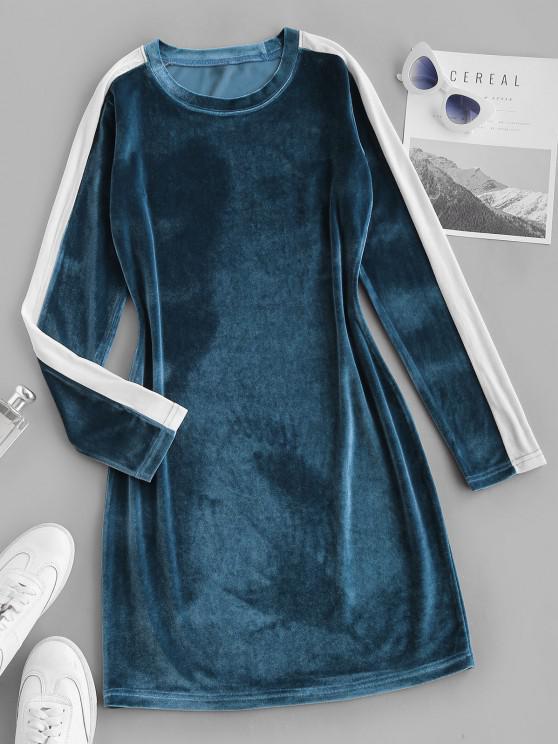 lady Contrast Two Tone Velvet Bodycon Long Sleeve Dress - BLUE S