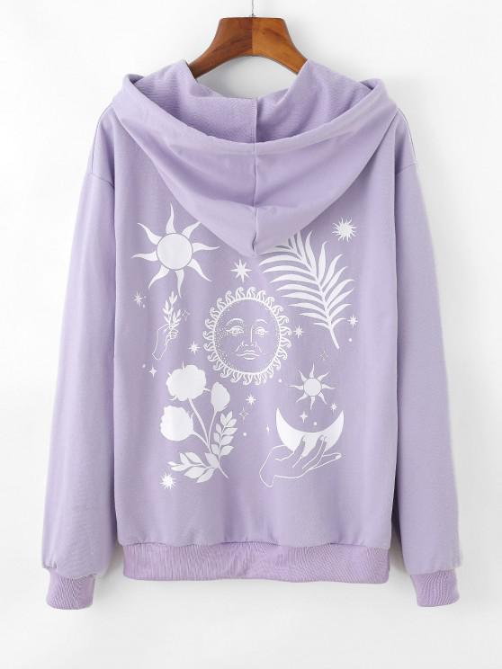 Moon and Flower Pattern Drop Shoulder Hoodie - ضوء ارجواني S