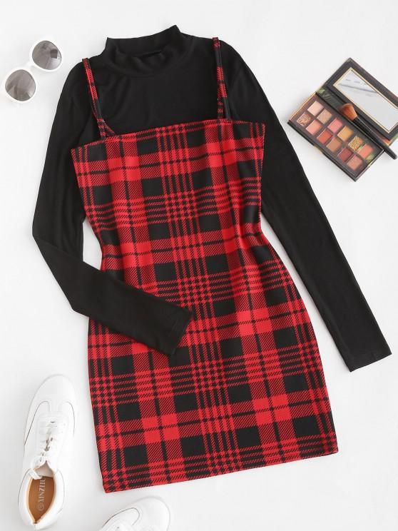 lady Plaid Bodycon Cami Dress with Rib Top - RED WINE L
