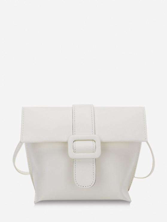womens Buckle Cover Square Crossbody Bag - WHITE