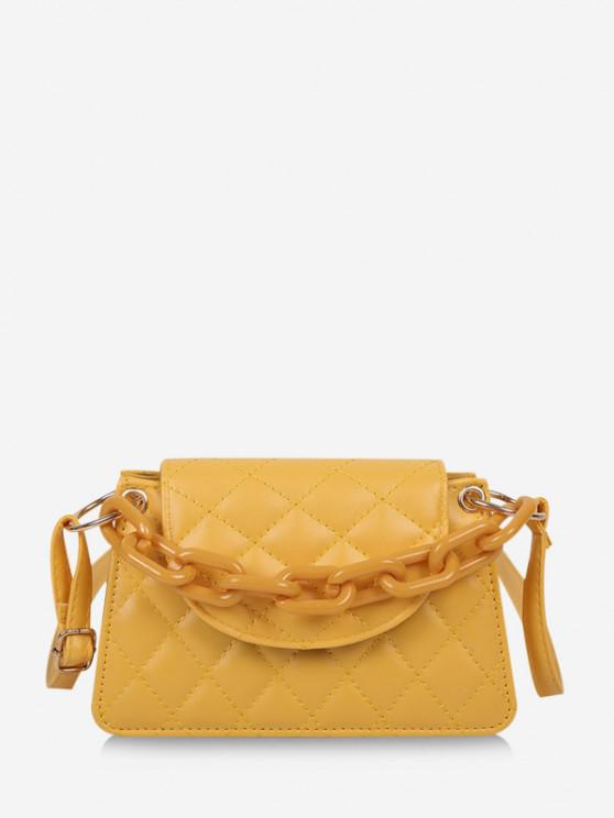 ladies Rhombus Pattern Solid Quilted Crossbody Bag - YELLOW