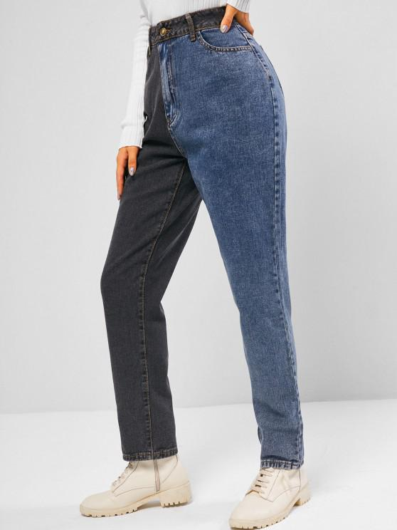 affordable Bicolor Zipper Fly Straight Jeans - MULTI S