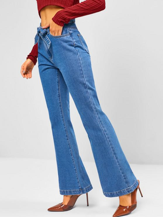 trendy Medium Wash Belted High Waisted Flare Jeans - BLUE L