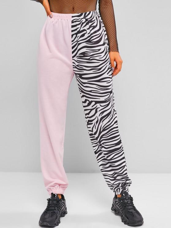 chic ZAFUL Colorblock Zebra Print Sweatpants - LIGHT PINK M
