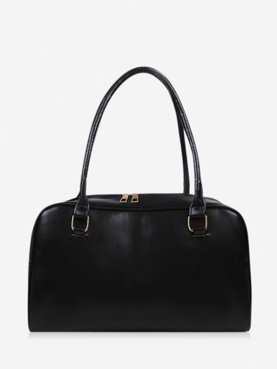 shop Brief Solid PU Shoulder Bag - BLACK