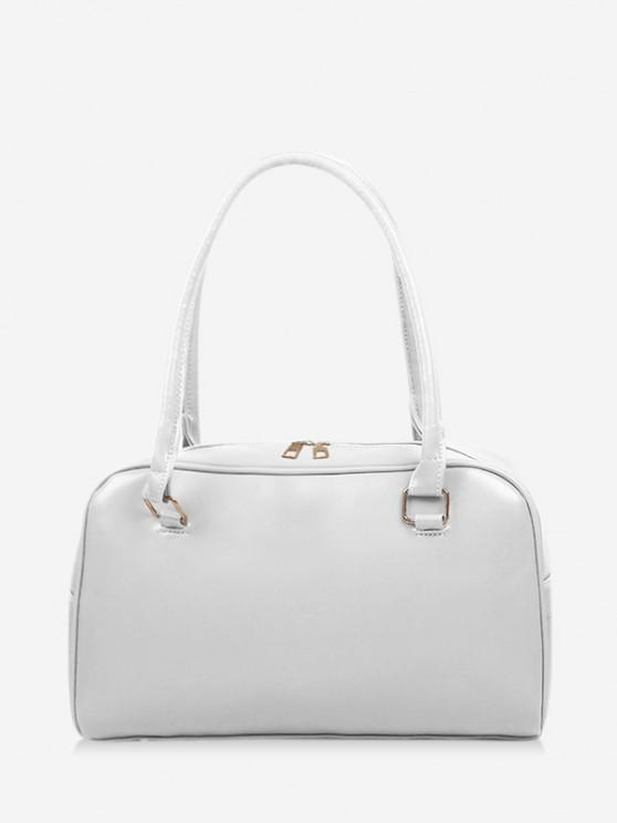 shops Brief Solid PU Shoulder Bag - WHITE