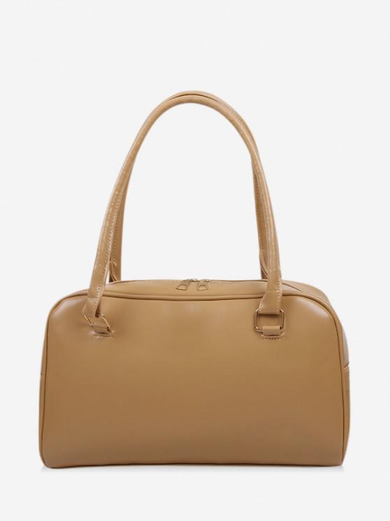 latest Brief Solid PU Shoulder Bag - LIGHT COFFEE