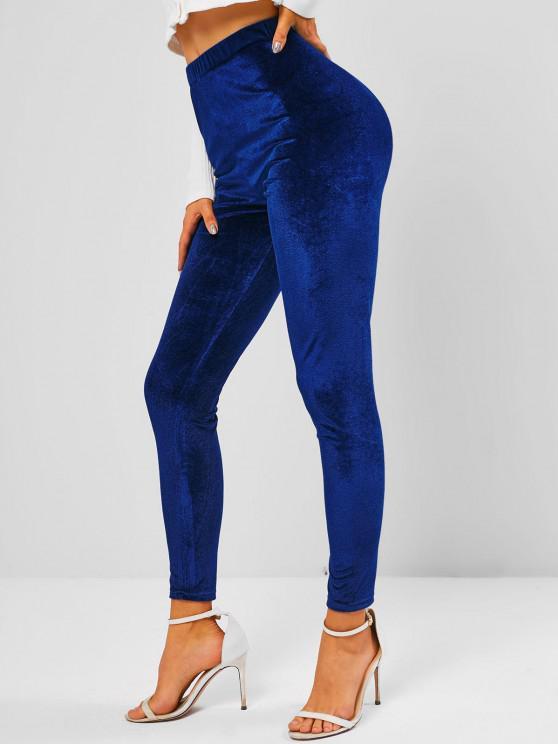 best High Waisted Velvet Fabric Skinny Leggings - DEEP BLUE S