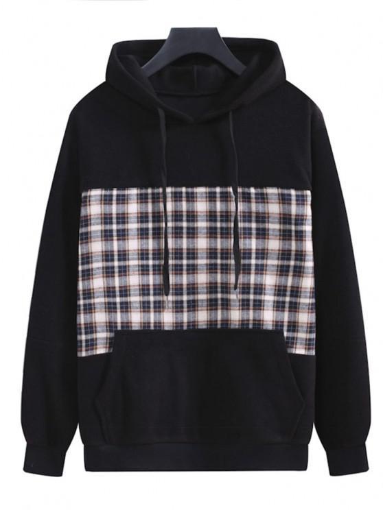 Plaid Patchwork Panel Fleece Hoodie - أسود L