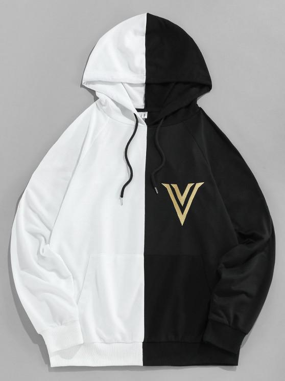 unique ZAFUL Wings Embroidered Kangaroo Pocket Contrast Hoodie - MULTI 2XL