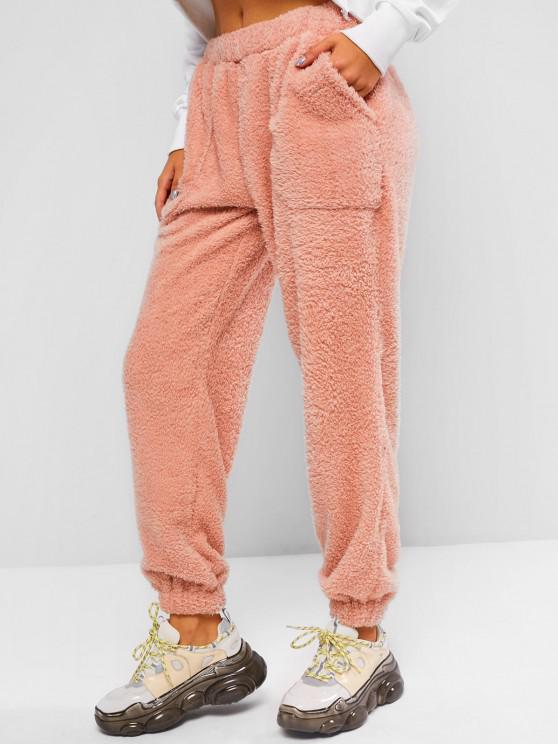 High Waisted Pocket Teddy Pants - وردي فاتح M