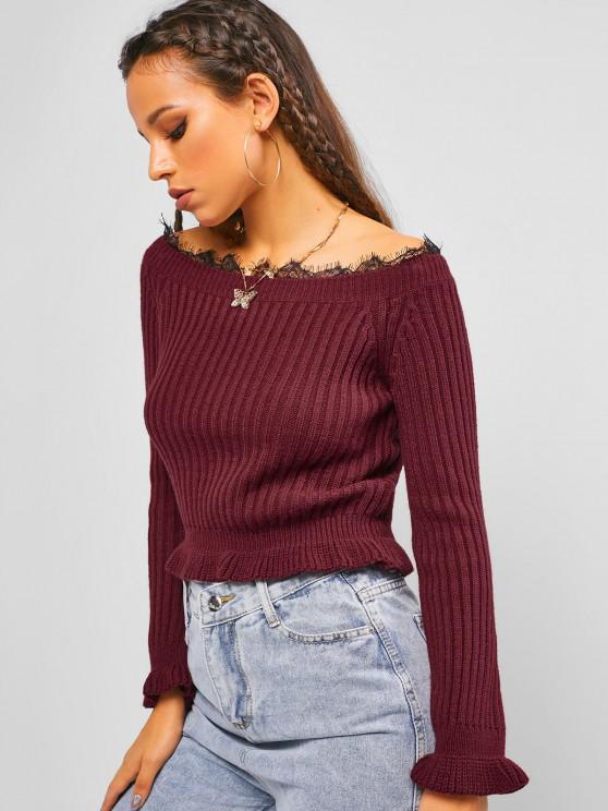 affordable ZAFUL Boat Neck Lace Insert Ruffle Sweater - DEEP RED S