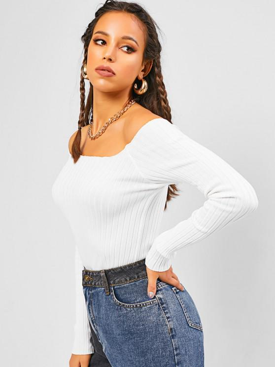 Ribbed Plain Basic Knitwear - أبيض حجم واحد
