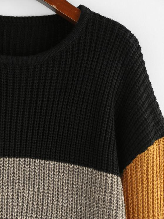 ZAFUL Drop Shoulder Colorblock Loose Sweater - Multi M