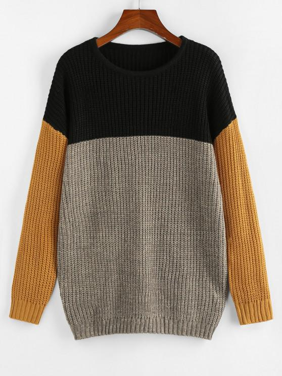 unique ZAFUL Drop Shoulder Colorblock Loose Sweater - MULTI S