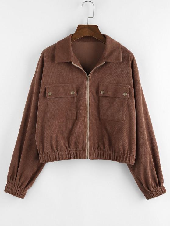 best ZAFUL Corduroy Pocket Drop Shoulder Zipper Jacket - DEEP BROWN M