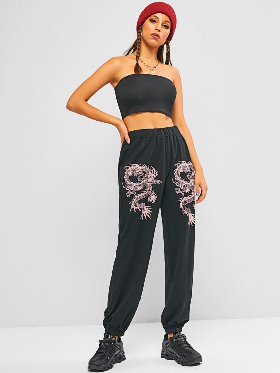 chic ZAFUL Tube Top with Oriental Dragon Print Joggers Set - BLACK S