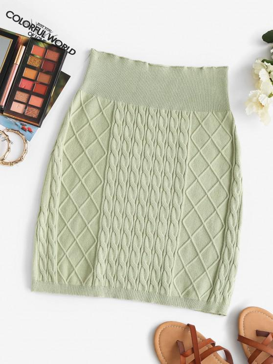 women Sheath Diamond Cable Knit Skirt - LIGHT GREEN ONE SIZE