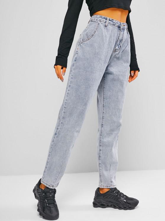 ladies Zipper Fly Pocket Mom Jeans - LIGHT BLUE S