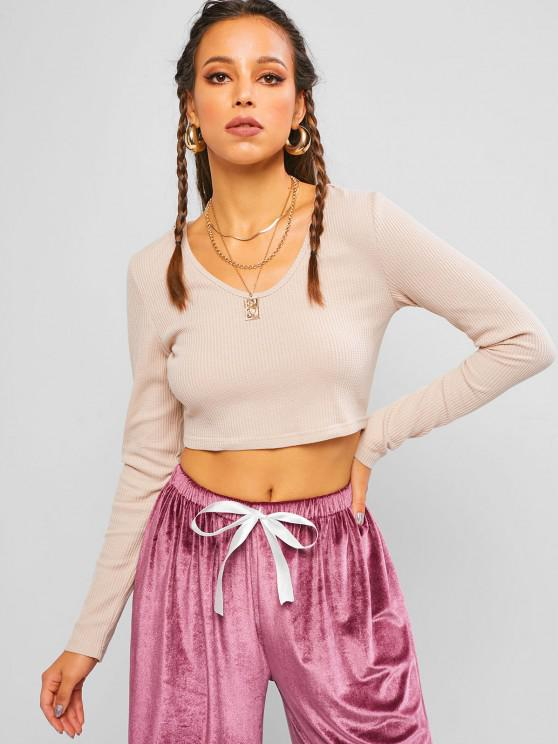 hot ZAFUL Knitted Hooded Cropped T Shirt - PINK S