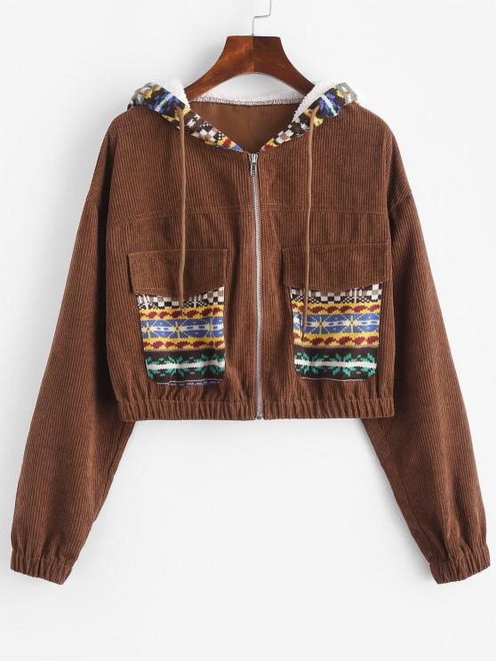 ZAFUL Ethnic Print Corduroy Mixed Media Pocket Jacket - قهوة S