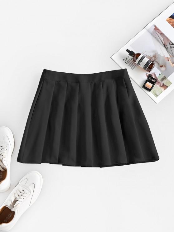 shop ZAFUL High Waist Pleated Mini Skirt - BLACK S