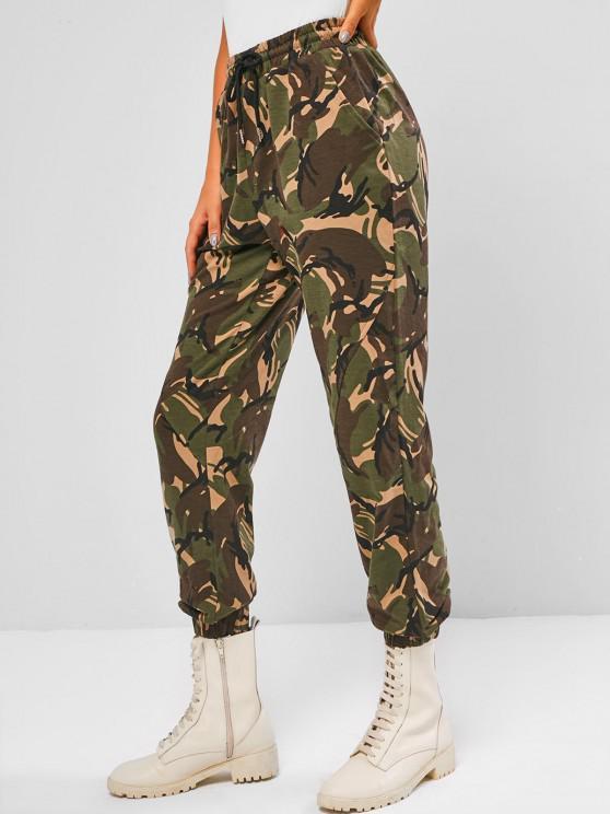 Pantalon Camouflage avec Poche à Cordon - Vert profond M