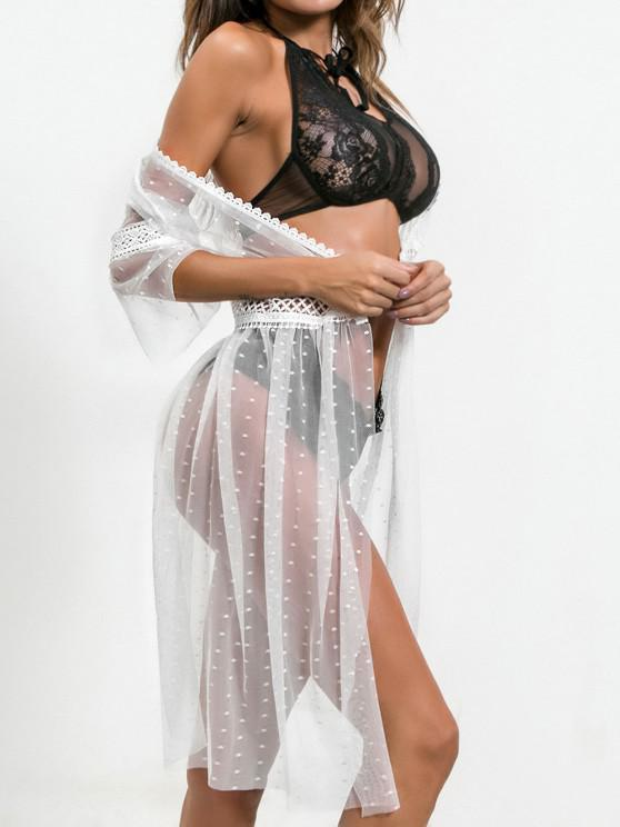lady Hook and Eye Dotted Mesh Lingerie Robe - WHITE S
