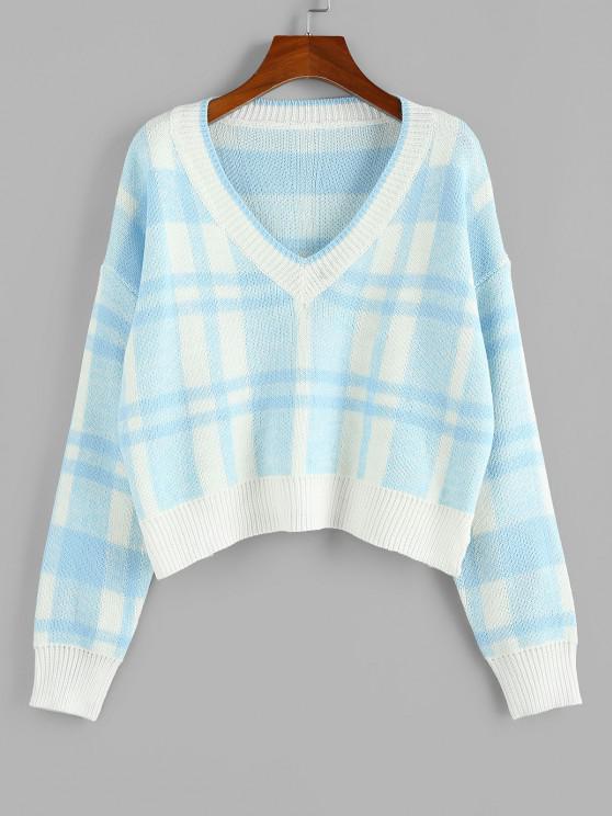 ZAFUL Jersey de Cuello en V y Hombro Caído - Azul claro M