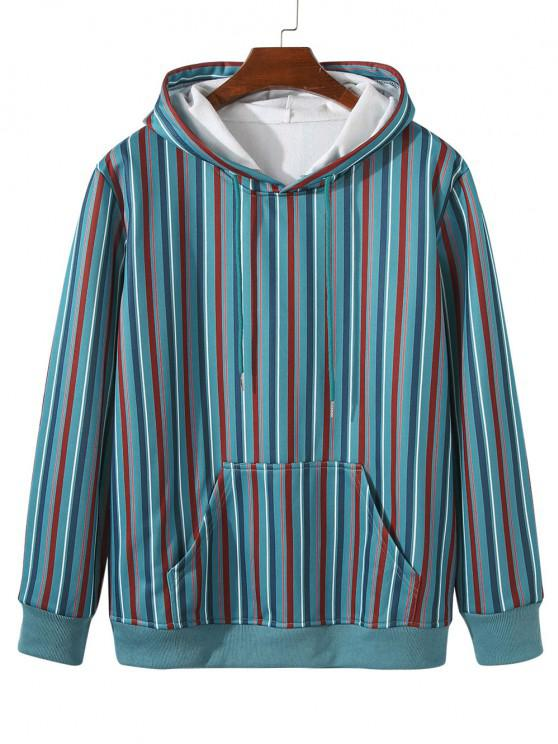Fleece Lined Front Pocket Colorful Striped Hoody - فيروز M