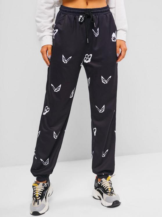 ZAFUL Drawstring Pocket Butterfly Print Pants - أسود L