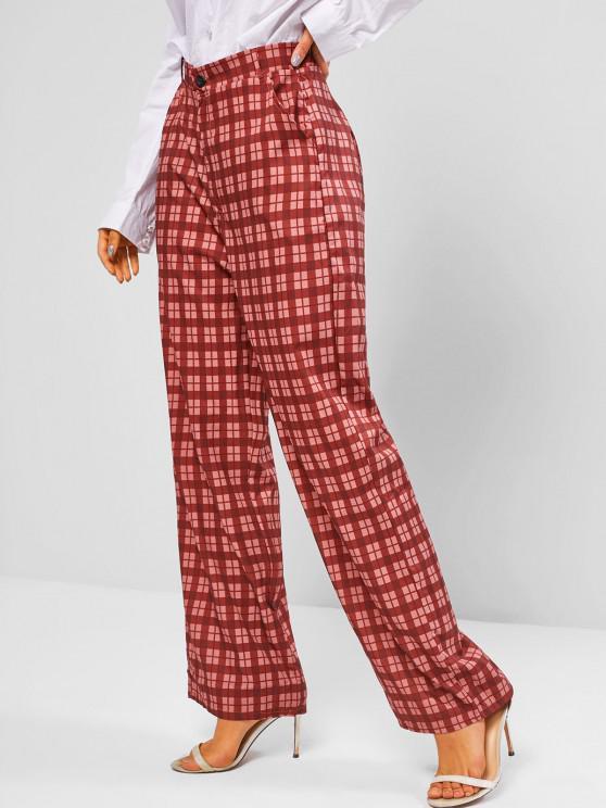 Pantalon à Carreaux Taille Haute à Jambe Large avec Poches - Rouge foncé L