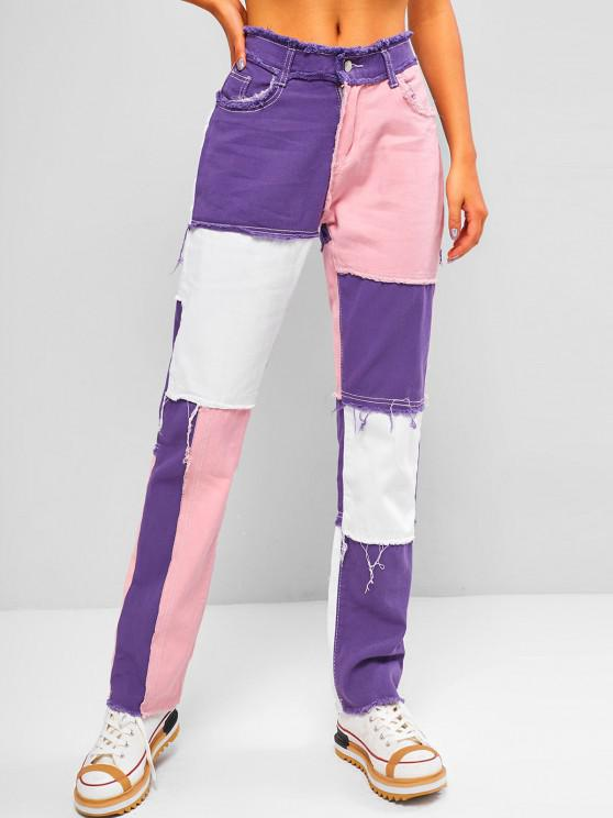 sale High Waisted Colorblock Frayed Tapered Jeans - FLAMINGO PINK S