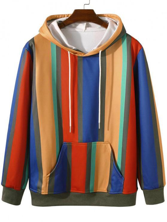 Colorful Striped Front Pocket Fleece Lined Hoodie - أصفر فاقع 2XL