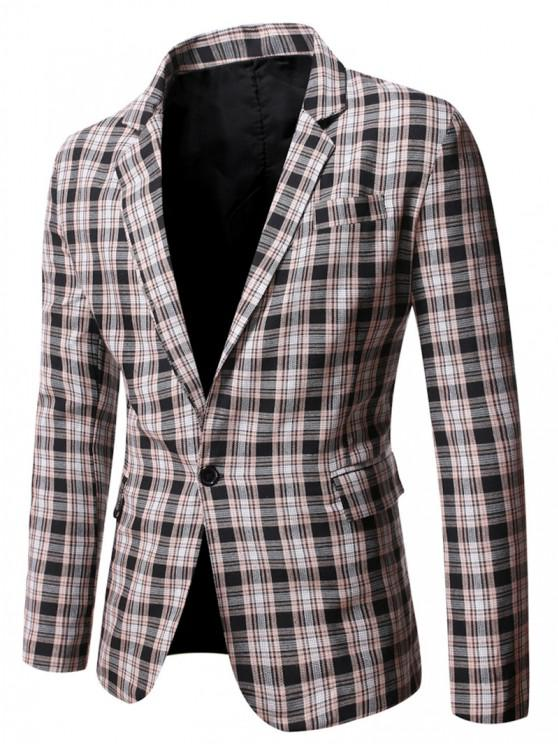 new Plaid Side Slit Single Button Blazer - BLACK L