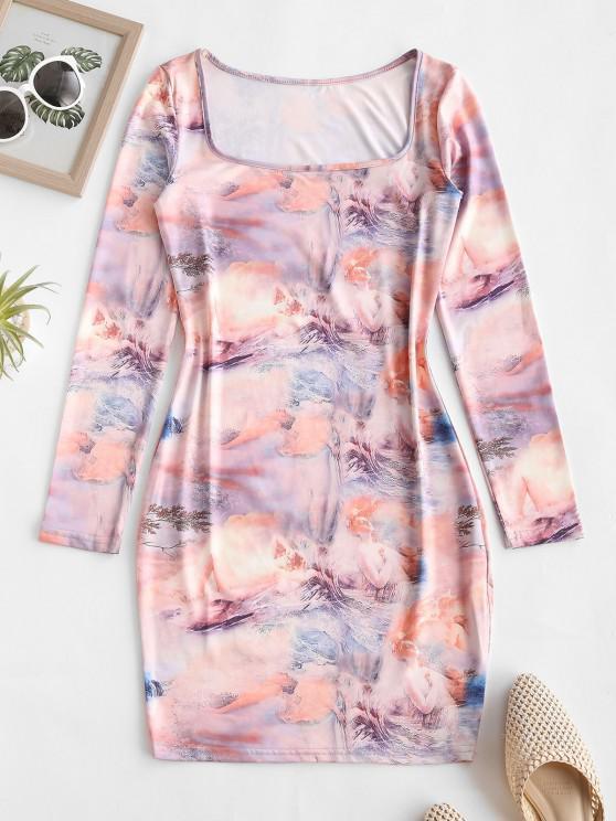 Vestido Estratificado De Princesa Estampa Floral - Café Light L