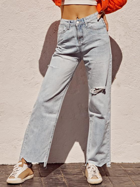shops Ripped Raw Hem Straight Leg Grunge Jeans - BLUE XL