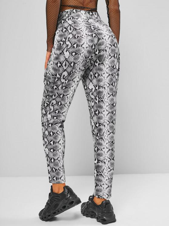unique High Waisted Snake Print Tapered Pants - BLACK S