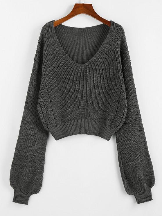 chic ZAFUL Plunge Drop Shoulder Lantern Sleeve Sweater - SMOKEY GRAY M