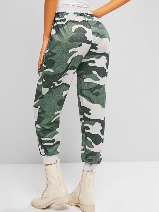 womens ZAFUL Slant Pockets Camouflage Jogger Sweatpants - LIGHT GREEN M
