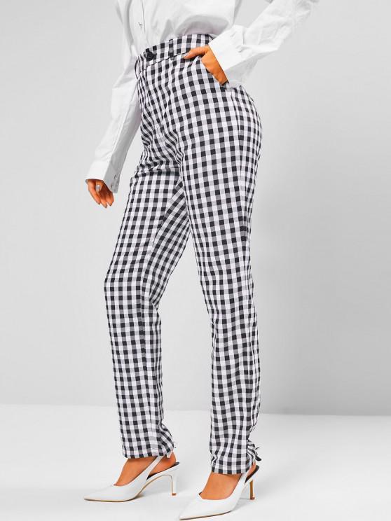 ZAFUL Gingham Pocket Straight Pants - أسود L