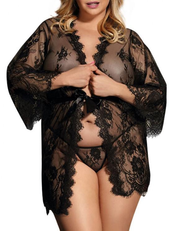 ladies Plus Size Lace Eyelash Sheer Sexy Robe Set - BLACK M