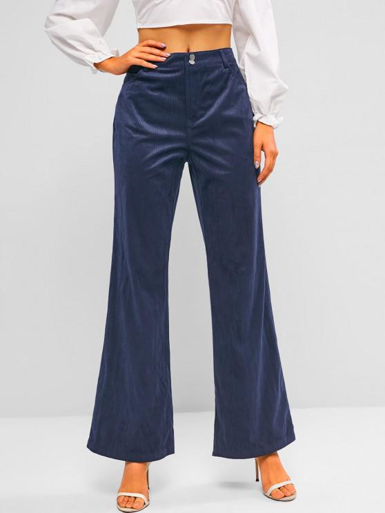 women ZAFUL High Rise Corduroy Bell Bottom Pants - DEEP BLUE M
