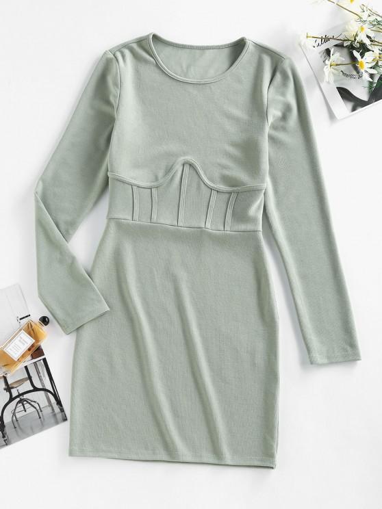 best ZAFUL Long Sleeve Seam Detail Sheath Mini Dress - LIGHT GREEN S