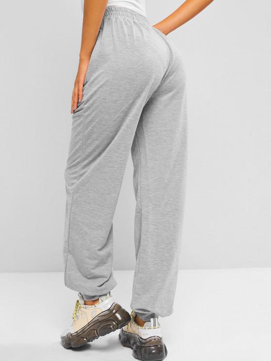 shops Pintuck Pocket High Waisted Jogger Pants - GRAY L