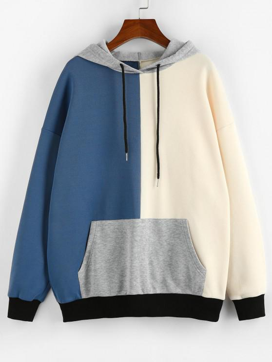 women's ZAFUL Oversized Colorblock Hoodie - SILK BLUE S