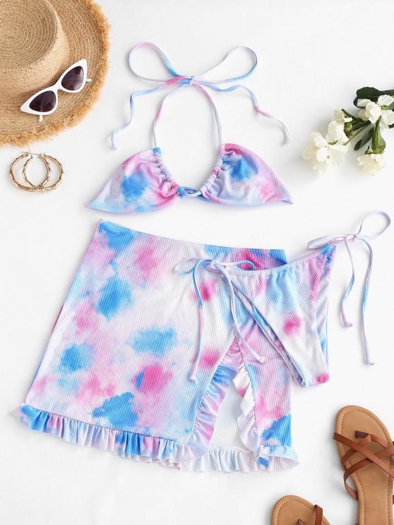 chic ZAFUL Tie Dye Ribbed Ruffled Three Piece Bikini Swimsuit - LIGHT PURPLE S